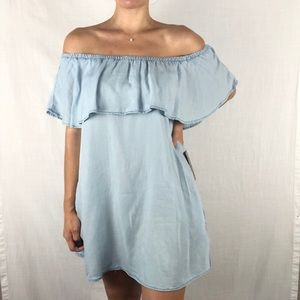J for Justify | Chambray Off The Shoulder Dress Sm